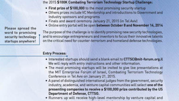 The $100K Combating Terrorism Technology Startup Challenge